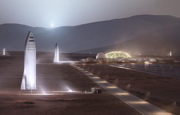 Картинка lights, moon, fantasy, road, science fiction, evening, sci-fi, planet, base, digital art, artwork, building, fantasy …