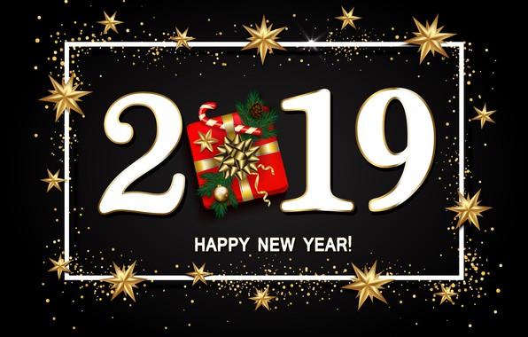 Картинка золото, Новый Год, цифры, golden, черный фон, black, background, New Year, Happy, glitter, 2019