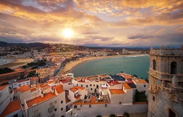 Картинка море, небо, облака, замок, побережье, здания, дома, панорама, Испания, Spain, Valencia, Валенсия, Средиземное море, Mediterranean …