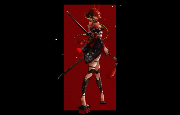 Картинка red, girl, sword, fantasy, black, horns, legs, minimalism, weapon, katana, samurai, artwork, mask, warrior, fantasy …