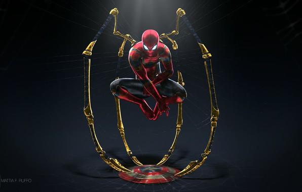 Картинка фантастика, паутина, арт, костюм, полумрак, щит, супергерой, комикс, Человек-паук, Spider-Man, Iron Spider, Mattia Ruffo