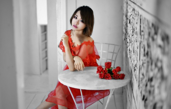 Картинка девушка, розы, азиатка