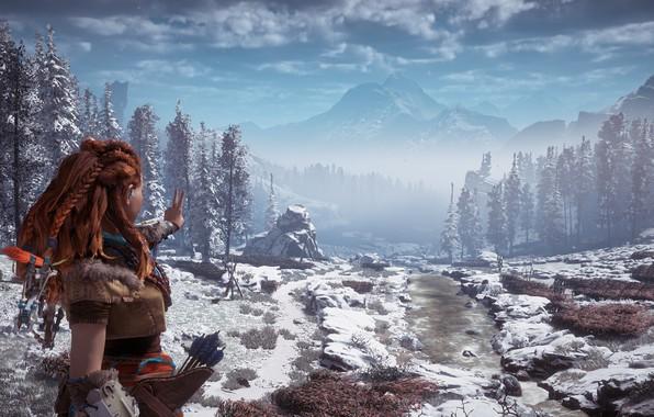 Картинка горы, жест, постапокалипсис, эксклюзив, зимний пейзаж, Playstation 4, Guerrilla Games, Horizon Zero Dawn, Элой