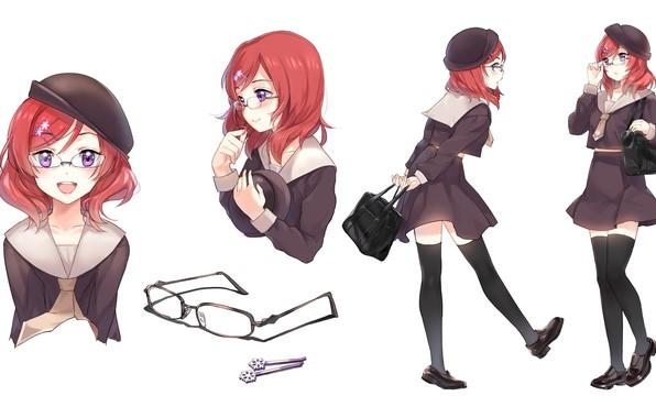 Картинка улыбка, очки, школьница, сумка, заколка, красные волосы, черные чулки, матроска, Love Live! School Idol Project, …