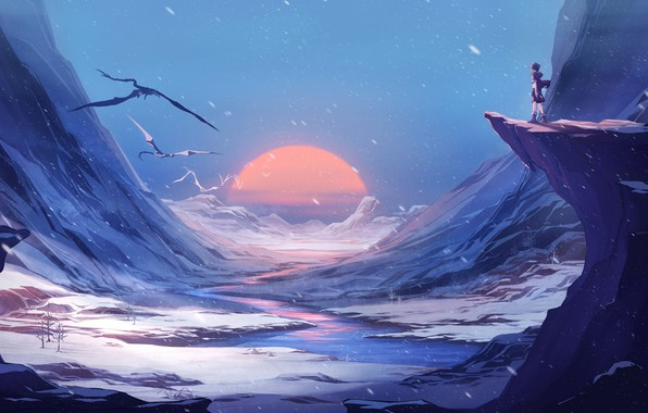 Картинка fantasy, Landscape, river, sunset, winter, mountains, snow, sun, man, digital art, artwork, fantasy art, dragons, ...