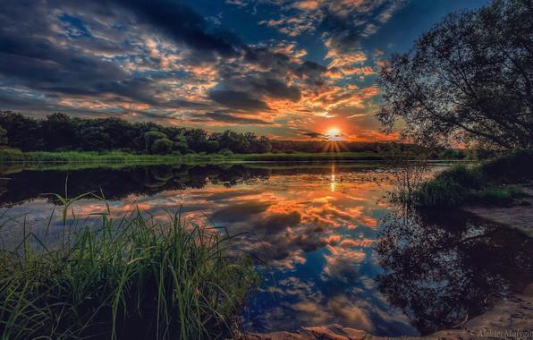 Картинка небо, деревья, закат, река, Aleksei Malygin
