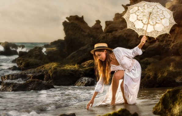 Картинка море, девушка, поза, зонтик, настроение, скалы, платье, шляпка, Alex Darash