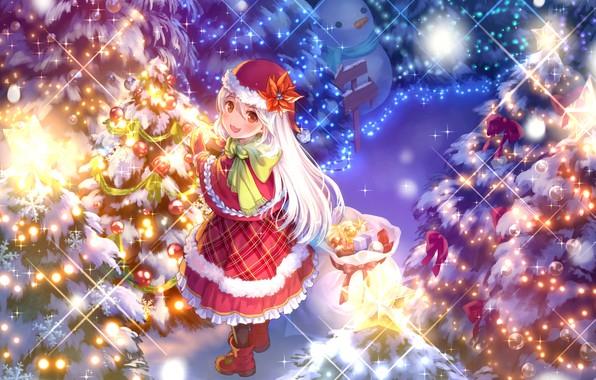 Картинка зима, снег, улыбка, сияние, шапка, вечер, шарф, указатель, девочка, мех, снеговик, сапожки, елочные украшения, мешок …
