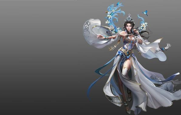 Картинка девушка, магия, игра, весна, фэнтези, арт, дизайн костюма, sol .., 239243yhdo