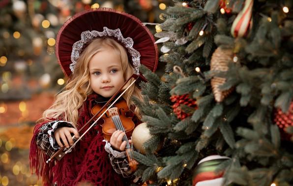 Картинка скрипка, девочка, ёлка, шляпка, Валентина Ермилова
