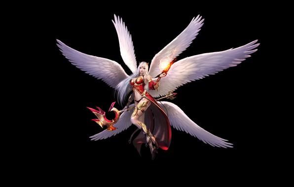 Картинка Girl, Fantasy, Beautiful, Art, Angel, Magic, Minimalism, Wings, Armor, Wizard, Eron Kim, With - Wizard