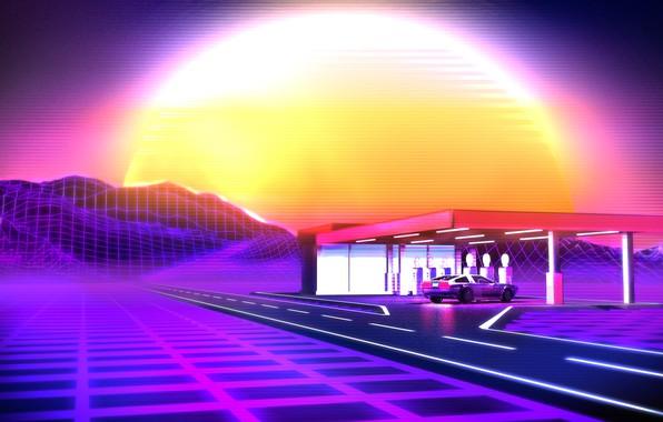 Картинка Солнце, Музыка, Звезда, Стиль, Фон, DeLorean DMC-12, 80s, Style, Neon, Illustration, Delorean, 80's, Synth, Retrowave, …