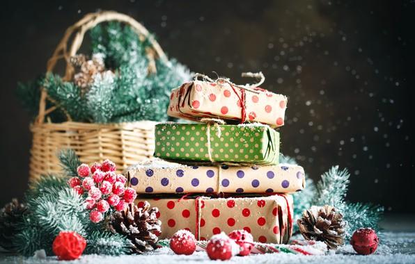 Картинка снег, украшения, Новый Год, Рождество, подарки, christmas, wood, winter, snow, merry, decoration, gift box, fir …