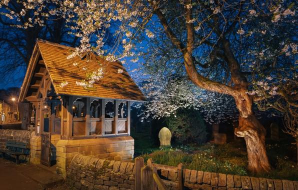 Картинка вечер, подсветка, церковь, Peak District, Баслоу, Англия.