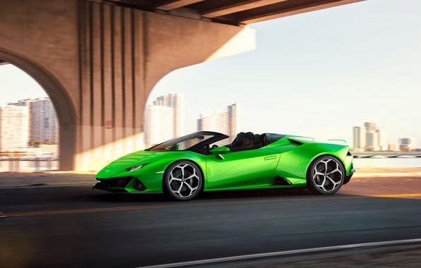 Картинка машина, движение, Lamborghini, оптика, спорткар, Spyder, Evo, Huracan