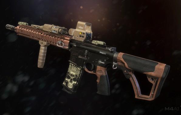 Картинка рендеринг, оружие, gun, weapon, render, custom, m4a1, штурмовая винтовка, assault Rifle, м4а1, ар 15, ar …