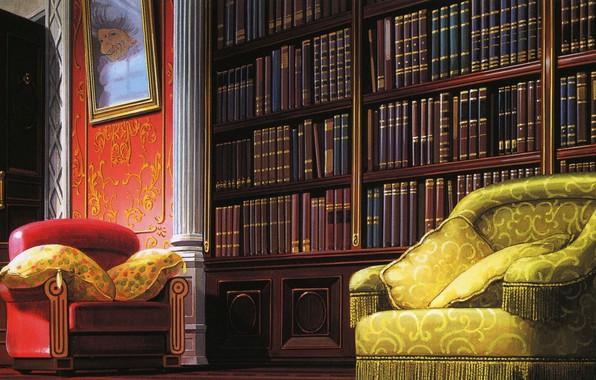 Картинка уют, книги, картина, кресло, подушки, библиотека, art, Hayao Miyazaki, Spirited Away, Унесенные призраками