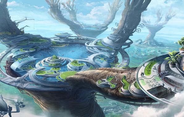Картинка Город, Fantasy, Арт, Art, Фантастика, Illustration, Concept Art, Environments, Thomas Chamberlain - Keen, by Thomas ...