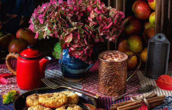 Картинка листья, цветы, яблоки, чайник, печенье, натюрморт, корица, гортензия, горячий шоколад, тёрка