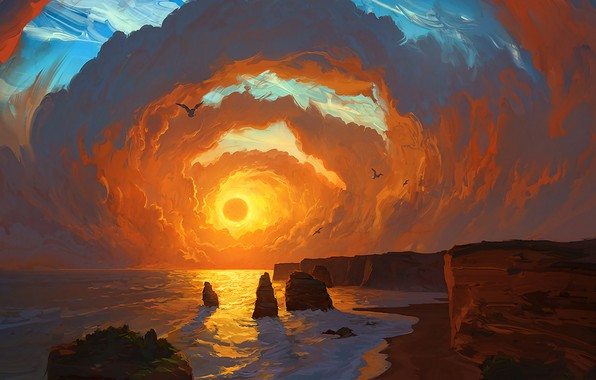 Картинка Landscape, sky, sea, coast, sunset, art, clouds, birds, sun, digital art, artwork, cliff, painting art