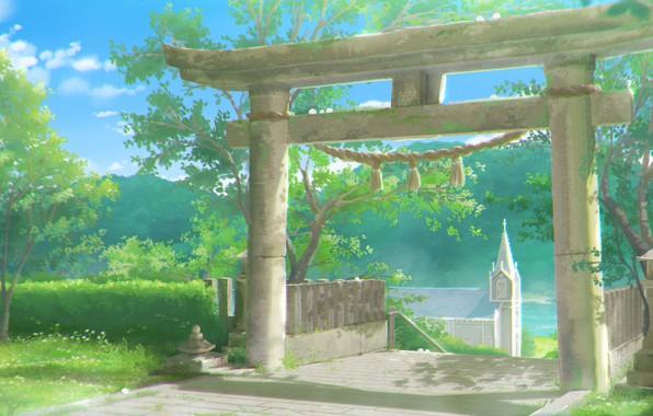 Картинка веревка, Япония, солнечный день, голубое небо, зелень листьев, ворота тории, by Sachiko15