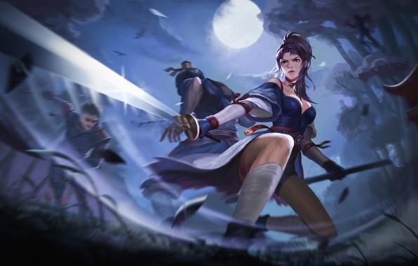 Картинка взгляд, девушка, ночь, поза, оружие, луна, аниме, бой, арт