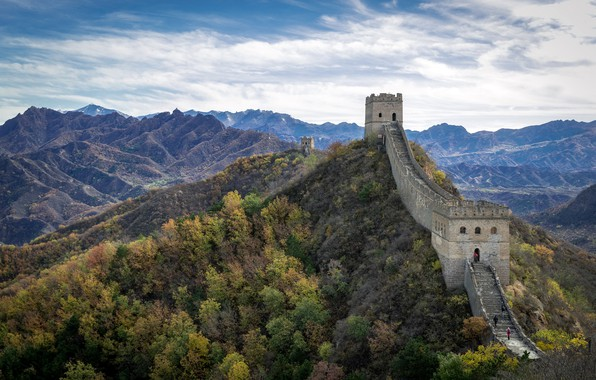 Картинка China, sunny, Great Wall, Hebei, Jinshanling, windy and autumn day