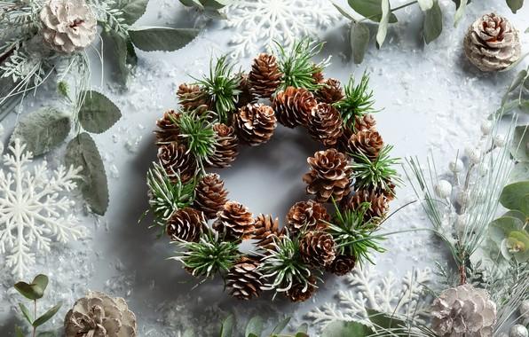 Картинка снежинки, праздник, Новый год, шишки, декор, композиция