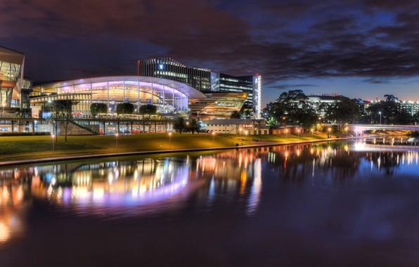 Картинка огни, вечер, подсветка, Австралия, Аделаида