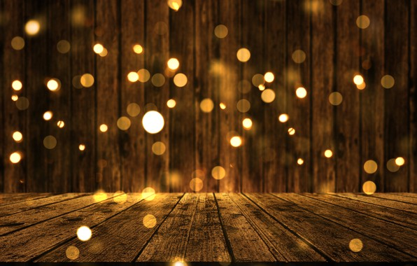 Картинка фон, доски, golden, золотой, gold, new year, wood, background, боке, bokeh, celebration, sparkle