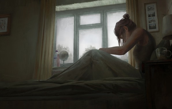 Картинка girl, glass, art, window, room, artist, bed, bottles, digital art, artwork, lamp, mirror, sitting, paintings, …