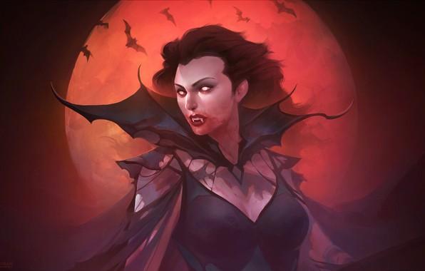 Картинка ночь, луна, арт, вампир, Fantasy, летучие мыши, vampire, вампирша, фэнтЕзи