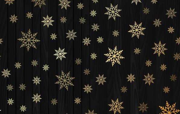 Картинка зима, снежинки, золото, Новый Год, Рождество, golden, черный фон, gold, black, Christmas, winter, background, New ...