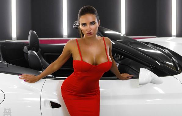 Картинка машина, авто, грудь, взгляд, поза, фигура, кабриолет, Света, красное платье, Михаил Герасимов