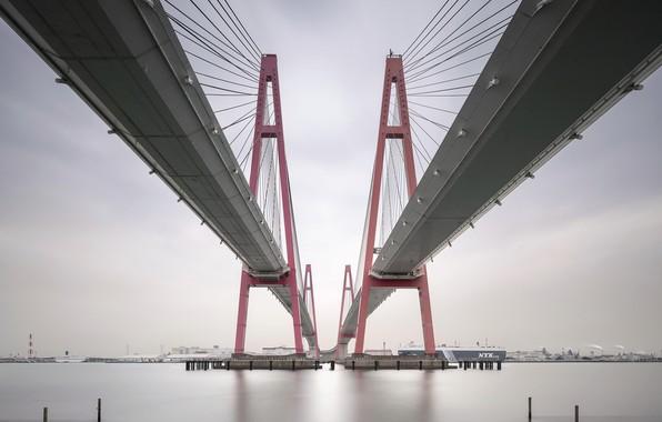 Картинка мост, город, залив