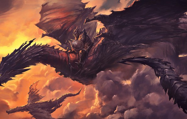 Картинка fantasy, horns, armor, sunset, wings, tail, clouds, digital art, artwork, concept art, shield, warrior, fantasy …