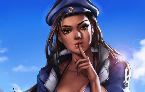 Картинка девушка, шляпа, арт, Overwatch, Ana Amari, by Dandonfuga, Анна Амари