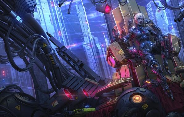 Картинка девушка, город, фантастика, провода, небоскребы, блондинка, лазер, киборг, киберпанк, трон