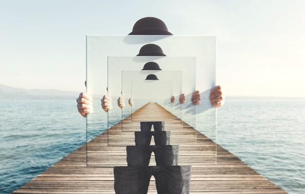 Картинка море, человек, картина, шляпа, руки, эффект