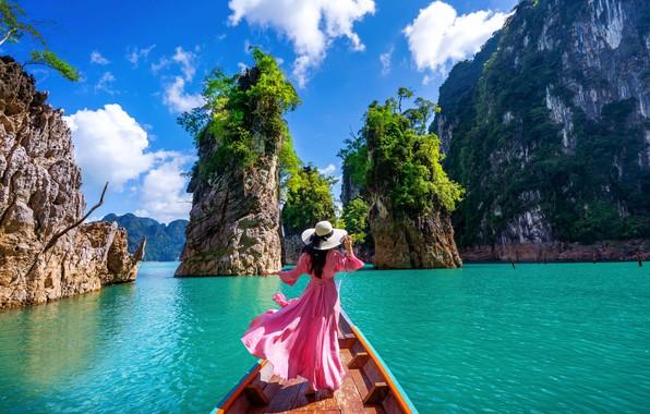 Картинка море, девушка, пейзаж, природа, скалы, лодка, Таиланд, залив
