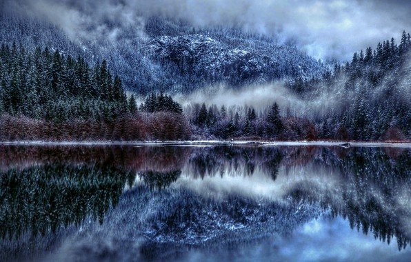 Картинка Nature, Winter, Landscape, Lake, Trees