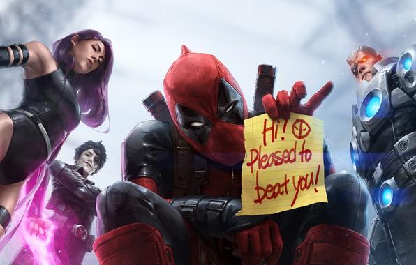 Картинка надпись, персонажи, marvel, Deadpool, Marvel Comics, Psylocke, Cable