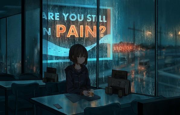 Картинка ночь, дождь, настроение, аниме, арт, кафе