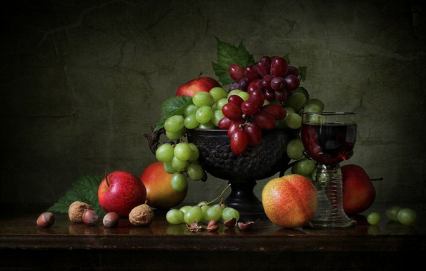 Картинка стиль, яблоки, виноград, ваза, фрукты, орехи, натюрморт, бокал вина