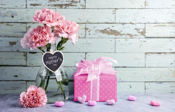 Картинка цветы, подарок, сердечки, love, розовые, happy, pink, flowers, beautiful, romantic, hearts, gift, гвоздики, mother's day, …