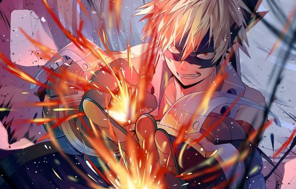 Картинка улыбка, парень, Моя геройская академия, Boku No Hero Academia, Бакуго Катсуки