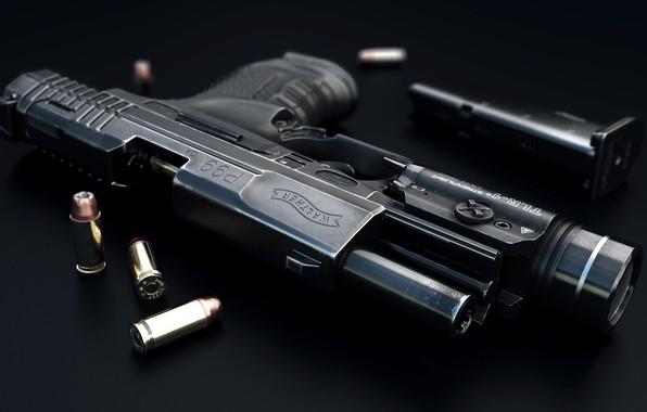 Картинка оружие, арт, патроны, огнестрельное оружие, немецкий пистолет, самозарядный пистолет, Luis Nieves, 9 MM Walter P99 …