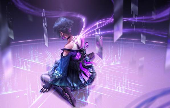 Картинка фантастика, Девушка, Pink, Стиль, girl, games, Cyberpunk, cyber hunter