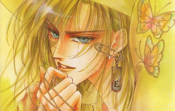 Картинка бабочки, лицо, руки, пирсинг, парень, голубые глаза, брелок, блондин, булавка, Mamiya Oki