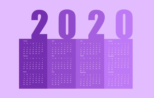 Картинка Новый год, календарь, 2020